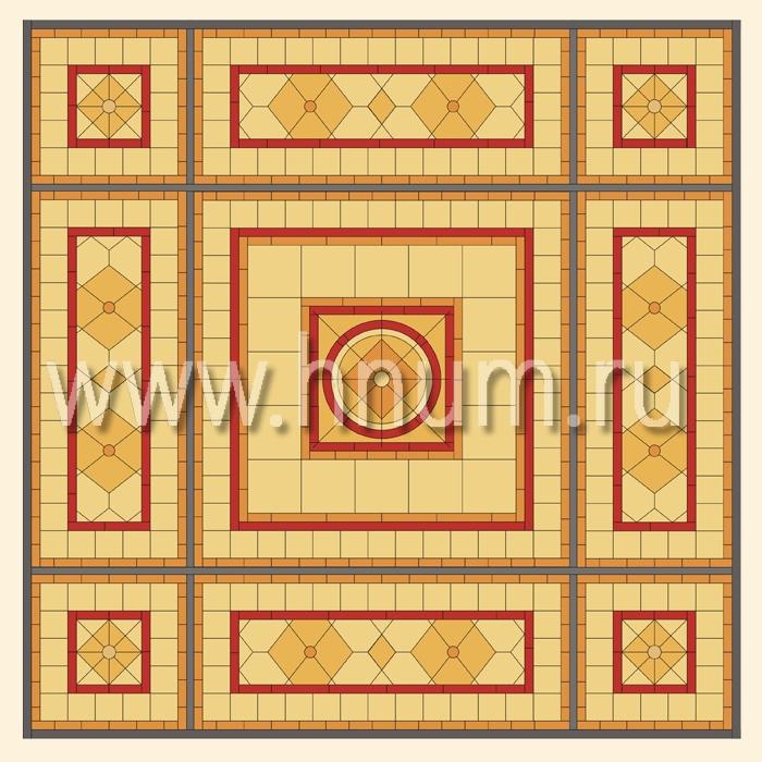 Витражный потолок тиффани, изготовленный на заказ в витражной мастерской БМ ХНУМ - Геометрическое изящество - Эскиз №51