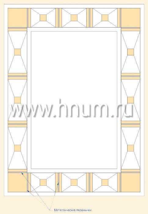Витражный потолок тиффани, изготовленный на заказ в витражной мастерской БМ ХНУМ - Песочные часы - Эскиз №52