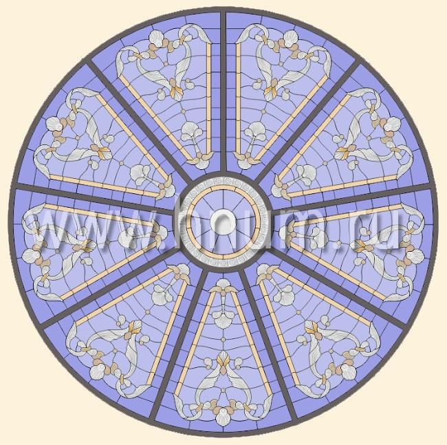 Витражный потолок тиффани, изготовленный на заказ в витражной мастерской БМ ХНУМ - Купол небес - Эскиз №54