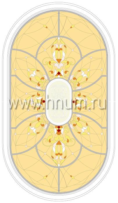 Витражный потолок тиффани, изготовленный на заказ в витражной мастерской БМ ХНУМ - Сказочный цветок - Эскиз №56