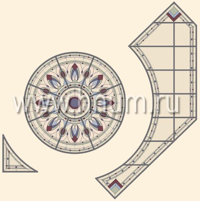 Витражный потолок тиффани, изготовленный на заказ в витражной мастерской БМ ХНУМ - Изящные бутоны - Эскиз №57