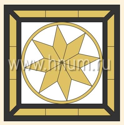 Витражный потолок тиффани, изготовленный на заказ в витражной мастерской БМ ХНУМ - Восьмиконечная звезда - Эскиз №59