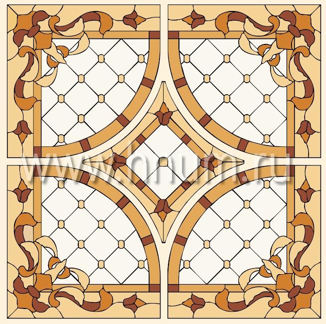 Витражный потолок тиффани, изготовленный на заказ в витражной мастерской БМ ХНУМ - Английский дом - Эскиз №60
