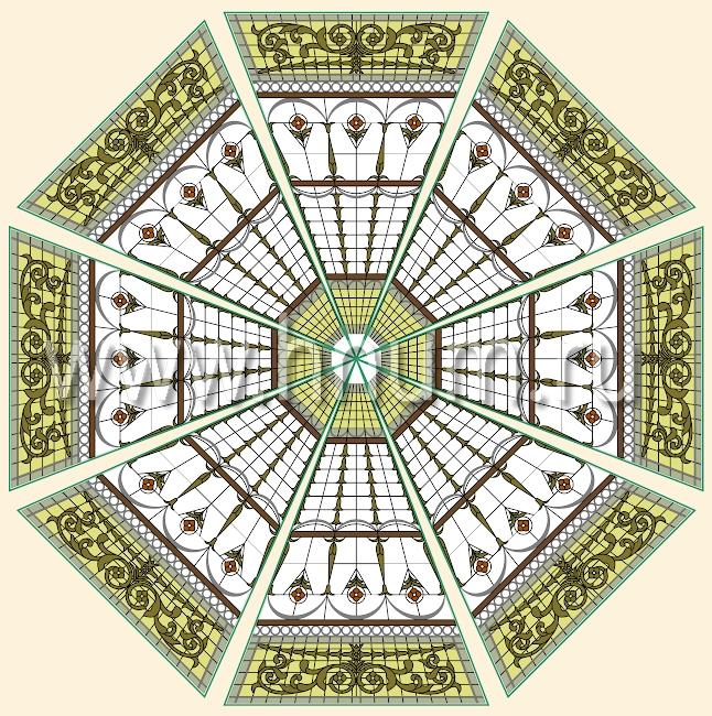 Витражный потолок тиффани, изготовленный на заказ в витражной мастерской БМ ХНУМ - Движение к центру - Эскиз №61
