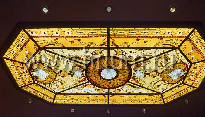 Витражный потолок тиффани, изготовленный на заказ в витражной мастерской БМ ХНУМ - Ракушки на берегу- Эскиз №62