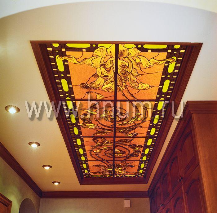 Витражный потолок тиффани, изготовленный на заказ в витражной мастерской БМ ХНУМ - Контраст - Эскиз №63