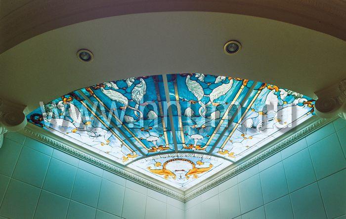 Витражный потолок тиффани, изготовленный на заказ в витражной мастерской БМ ХНУМ - Угловой - Эскиз №64