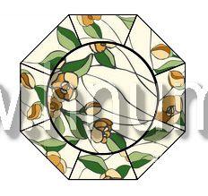 Витражный потолок тиффани, изготовленный на заказ в витражной мастерской БМ ХНУМ - Букет- Эскиз №66