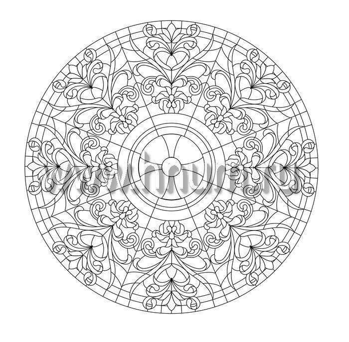 Витражный потолок тиффани, изготовленный на заказ в витражной мастерской БМ ХНУМ - Вращение- Эскиз №67