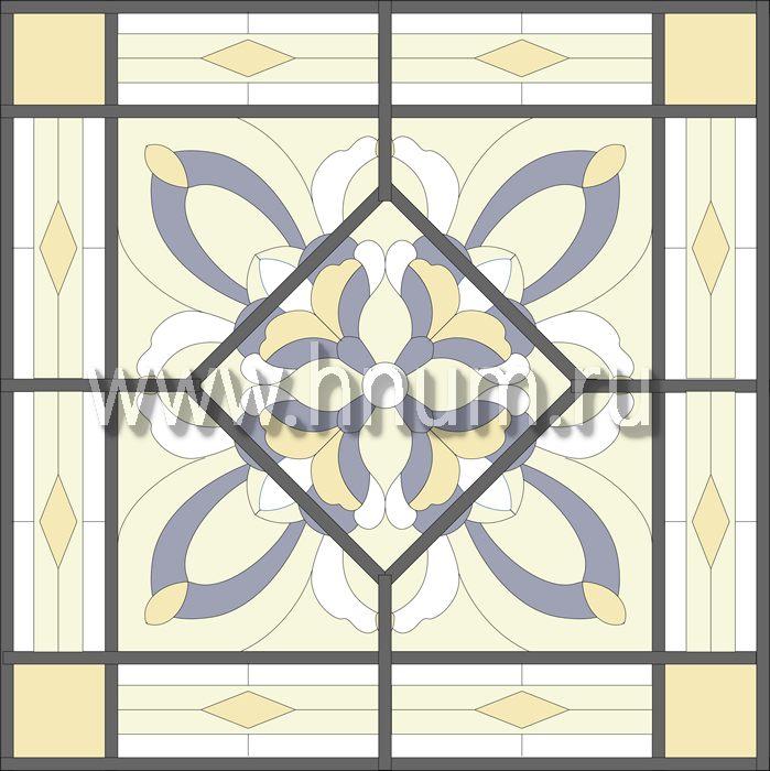 Витражный потолок тиффани, изготовленный на заказ в витражной мастерской БМ ХНУМ - Движение- Эскиз №68