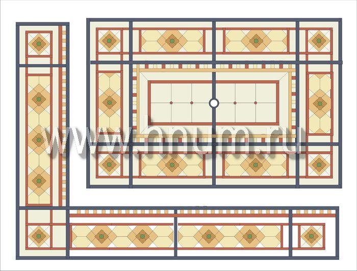 Витражный потолок тиффани, изготовленный на заказ в витражной мастерской БМ ХНУМ - Движущиеся ромбы- Эскиз №69