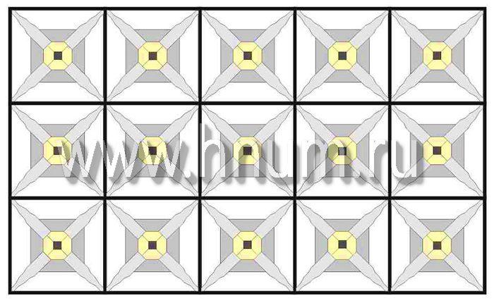 Витражный потолок тиффани, изготовленный на заказ в витражной мастерской БМ ХНУМ - Иллюзорные фигуры- Эскиз №70