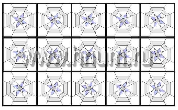 Витражный потолок тиффани, изготовленный на заказ в витражной мастерской БМ ХНУМ - Калейдоскоп- Эскиз №71