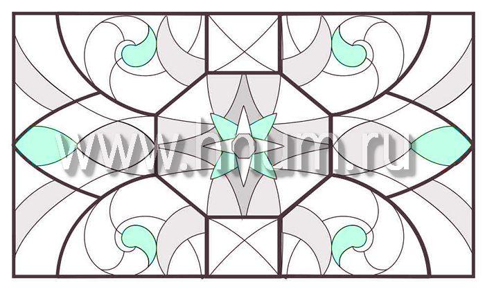 Витражный потолок тиффани, изготовленный на заказ в витражной мастерской БМ ХНУМ - Морская карта- Эскиз №72