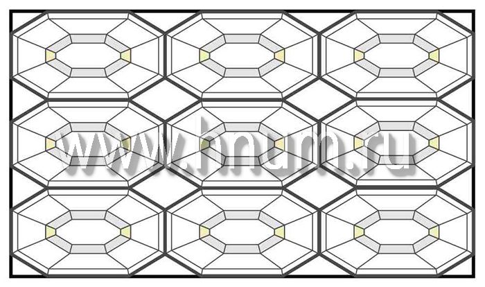 Витражный потолок тиффани, изготовленный на заказ в витражной мастерской БМ ХНУМ - Огранка- Эскиз №73
