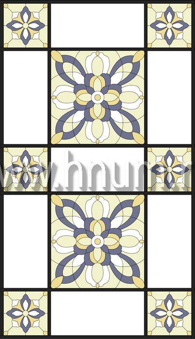 Витражный потолок тиффани, изготовленный на заказ в витражной мастерской БМ ХНУМ - Ритм и порядок- Эскиз №74