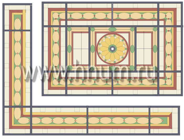Витражный потолок тиффани, изготовленный на заказ в витражной мастерской БМ ХНУМ - Сказочный терем- Эскиз №75
