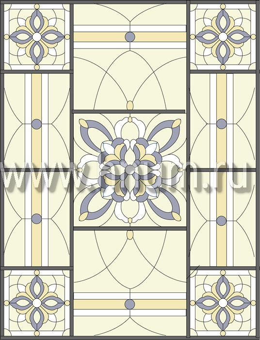 Витражный потолок тиффани, изготовленный на заказ в витражной мастерской БМ ХНУМ - Соединяющая нить- Эскиз №76
