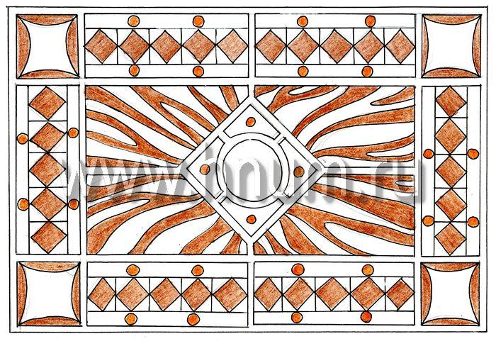 Витражный потолок тиффани, изготовленный на заказ в витражной мастерской БМ ХНУМ - Солнечный луч- Эскиз №77