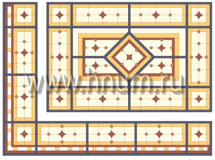 Витражный потолок тиффани, изготовленный на заказ в витражной мастерской БМ ХНУМ - Утонченность- Эскиз №78