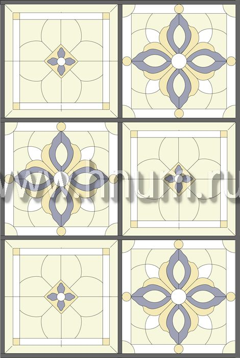 Витражный потолок тиффани, изготовленный на заказ в витражной мастерской БМ ХНУМ - Чередование- Эскиз №79