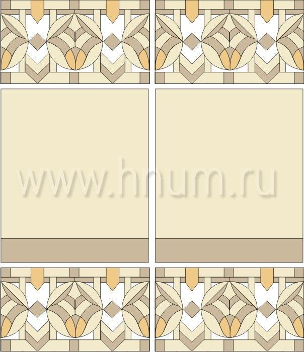 Витражный потолок в стиле ар-деко, изготовленный на заказ в витражной мастерской БМ ХНУМ - Изящество - Эскиз №24