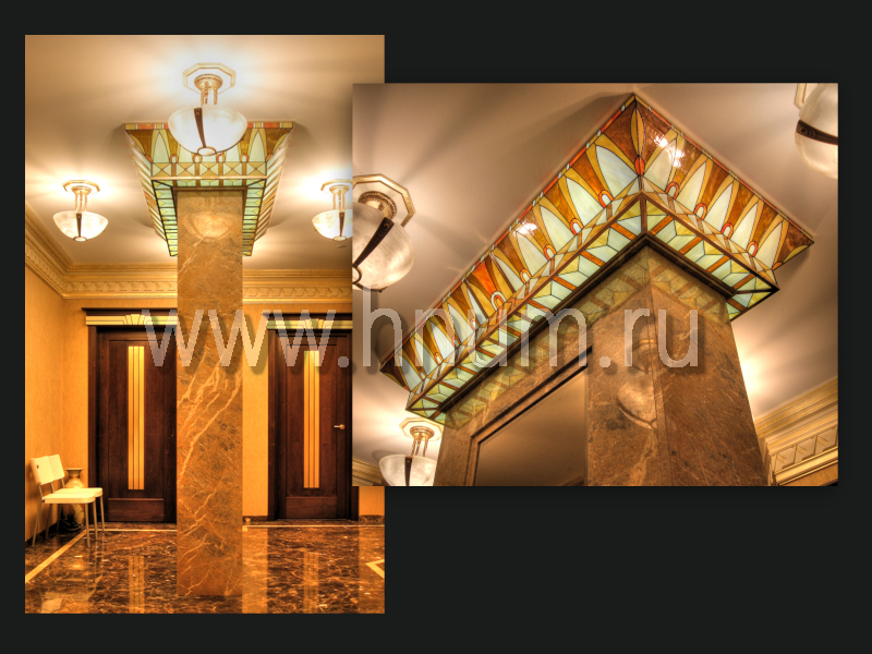 Витражный плафон-капитель в стиле Ар-Деко в парадном холле - изготовление витражных потолков на заказ