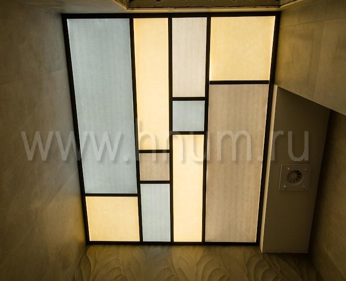 Витражный потолок с алюминиевым профилем - изготовление на заказ - витражная мастерская ХНУМ