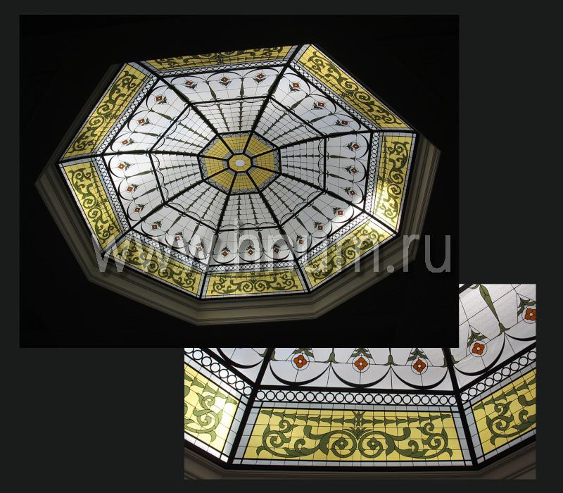 Витражный потолок купол в английском стиле загородном доме - изготовление витражных потолков на заказ
