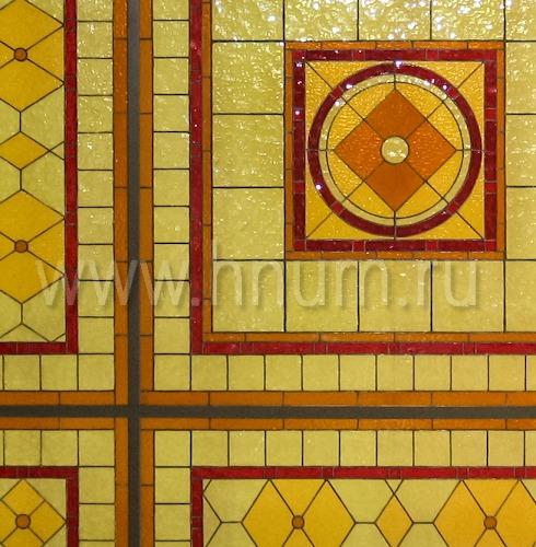 Витражный потолок плафон в английском стиле в загородном доме - изготовление витражных потолков на заказ
