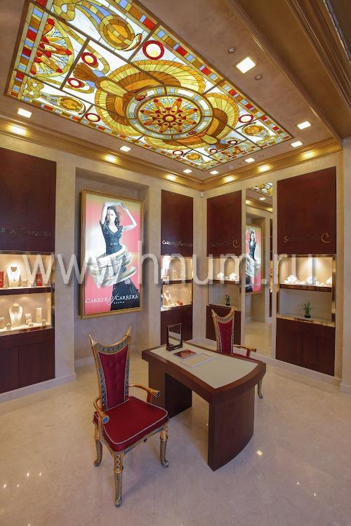 Витражный потолок в вип-зале ювелирного бутика - изготовление на заказ - витражная мастерская ХНУМ