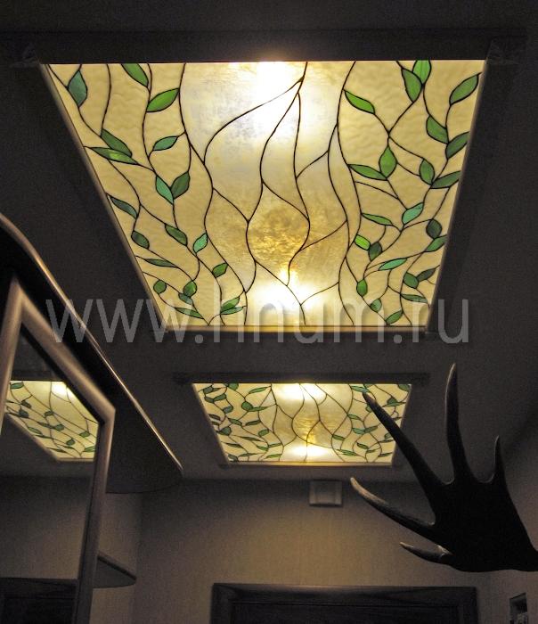 Витражный потолок тиффани, изготовленный на заказ в витражной мастерской БМ ХНУМ - Зеленые листья - Эскиз №55