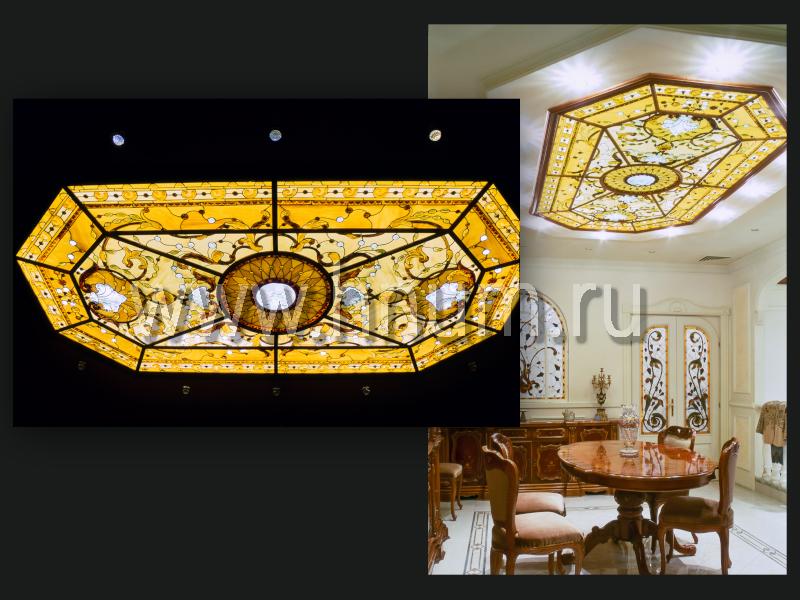 Витражный потолок во французском стиле в интерьере парадной приемной офиса - изготовление витражных потолков на заказ